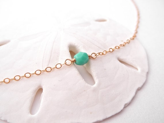 Sandy Beach Necklace - Tiny Turquoise Bead - 14k Gold Fill or Sterling Silver