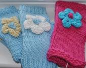 Girl's Hand Knit Fingerless Mittens