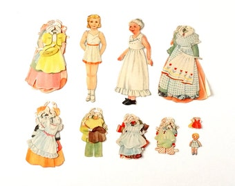 Vintage Paper Doll Set with Mother, Child, and Clothing (1940s) - Ephemera, Collectible, Paper Projects