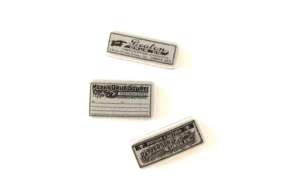 Antique-Looking Pharmacy Label Rubber Cling Mount Stamps (Set of 3) - Perfect for paper crafts, fabrics, and more