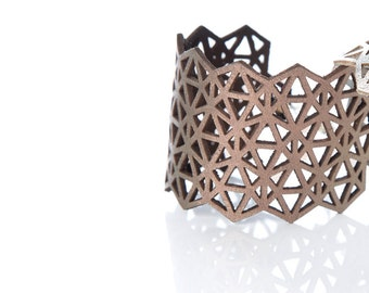 Iskin Mila Bracelet Medium - Leather - Geometric design - Laser cut Leather - Cuff - Contemporary Jewelry