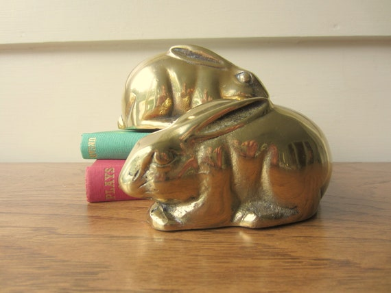 Pair of brass bunny bookends.  Pair of brass bunny nursery decor.  Twin bunnies.