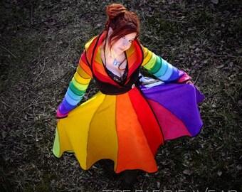 Rainbow* Long Fleece 'Tournedot' Jacket(length 6). 12 stripe positively pixie hood / 12 stripe sidhe sleeves