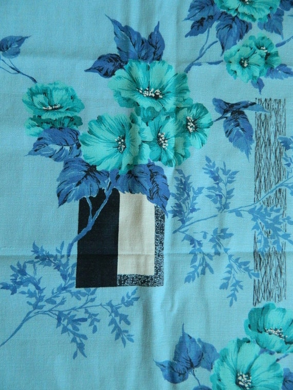 1950s Floral Barkcloth ...  Authentic Vintage Barkcloth  ... Rhapsody in Blue ..... 3 Yards