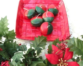 "6 Red & Green Hand-Crafted Christmas Votive Candles, 2"", like new"