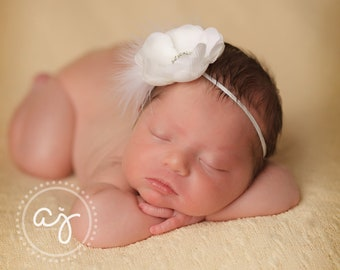 Baby Girl White Flower Headband with Feathers..Baby Girl Christening Baptism Headband..White Flower with Rhinestones and Feathers