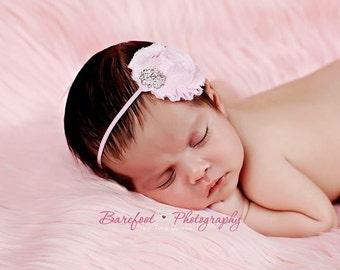 Baby Girl Pink Headband..Rhinestones..Pink Baby Headband..Pale Pink Headband..Baby Girl Light Pink Flower Headband