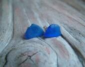Scottish Sea Glass Earrings - Rare Cobalt Blue