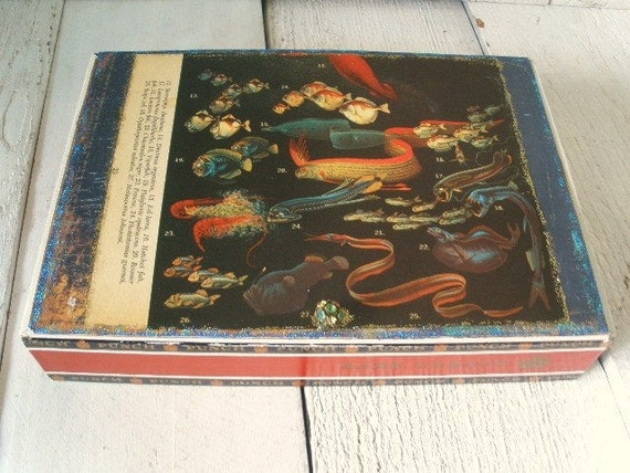 Vintage cigar box embellished strange sea ocean life black