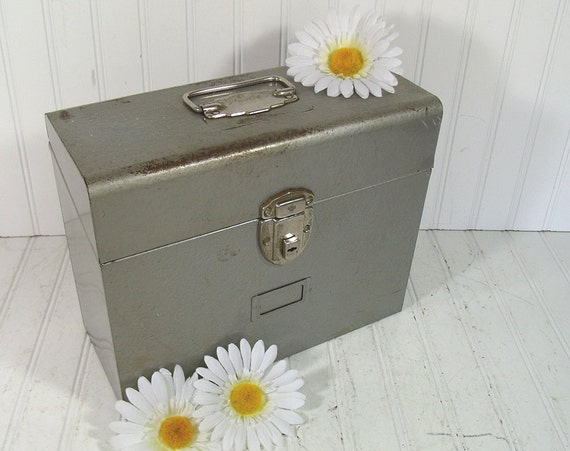 Hammered Metal Silver Grey File Box - Vintage Heavy Duty Carry All - BoHo Industrial Decor