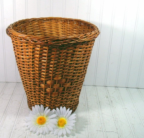 Vintage honey brown woven wicker bin mid century waste - Wicker trash basket ...