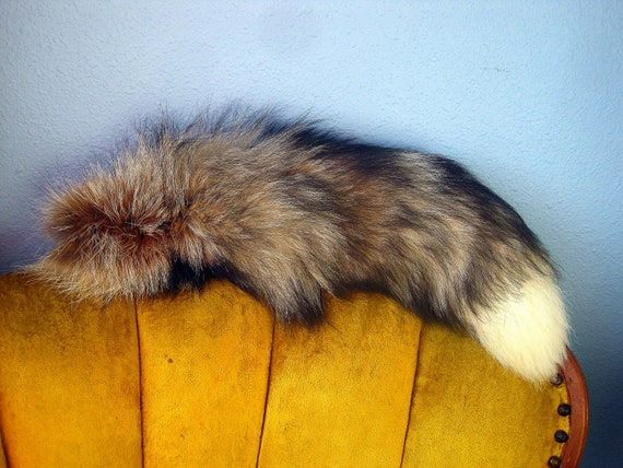 Vintage Red Fox Fur Tail with White Tip - Large and Full