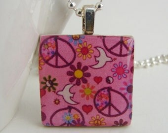 Peace and Love Pendant with Free Necklace