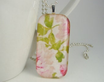 Peonies Domino Pendant with Free Necklace