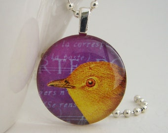 Yellow Bird Pendant with Free Necklace
