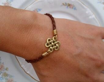 Bronze Celtic Endless Knot Bracelet or Anklet with Brown Braided Leather Celtic Leather Bracelet or Anklet