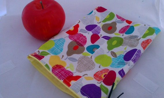 Reusable Eco Friendly Snack Sack Bag 5x6 Ready to ship Pears and Apples with yellow zipper 6x8