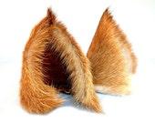 Dusty Brown Long Fur Leather Wolf Dog Ears Limited Edition Inumimi Cosplay Furry Goth Fantasy Fashion Wear