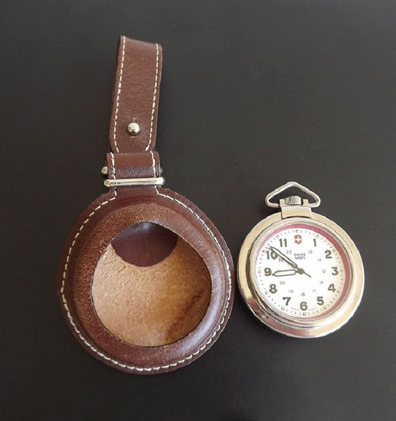 Vintage Swiss Army Pocket Watch Pocketwatch Leather Fob Case