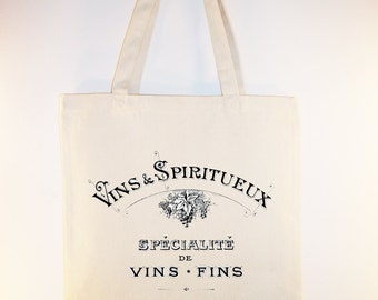 Vintage French Wine Typography Illustration on Canvas Tote - Selection of sizes available
