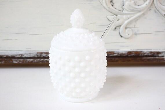 Vintage Hobnail Milk Glass Sugar Bowl - Jam Jar - Condiment Jar