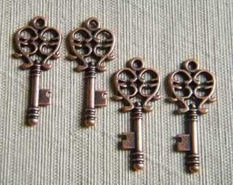 Alcott - Skeleton Keys - 10 x Antique Copper Small Vintage Skeleton Key Charms Keys
