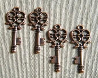 Alcott - Skeleton Keys - 10 x Antique Copper Small Vintage Keys Skeleton Key Charms Keys