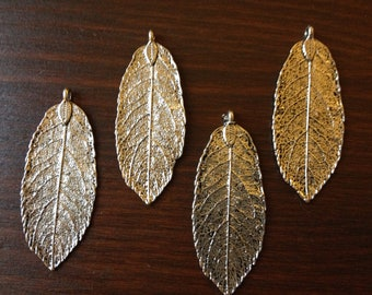 10 x Antique Silver Natural Leaf Pendants Silver Leaf Charms Antique Silver Leaves DIY Necklace Pendants Jewelry Making Leaf Charms