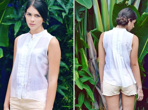Ann silk voile pintucked pleat button down blouse top off white