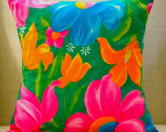Tropical Pillow Cover - Vintage Rainbow Flowers - Pink, Blue, Green & Orange - 16 x 16