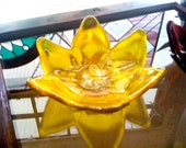 Yellow Lotus Flower Bowl with White and Yellow Center Fused Glass Slumped Glass