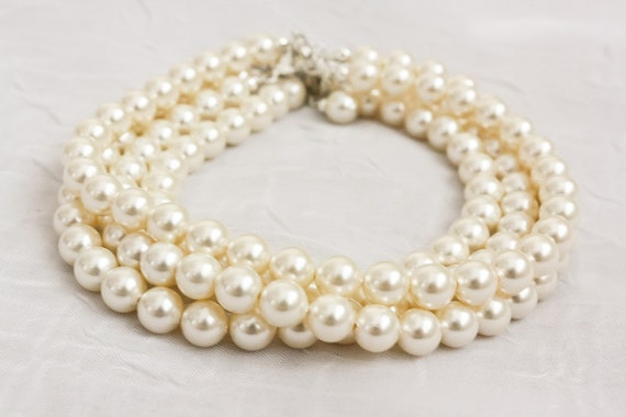 RESERVED - Four Cream Swarovski Pearl Bridesmaids' Bracelets