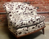 SALE Mid Century Club Chair Repurposed With Hable Construction Chocolate Fig Fabric