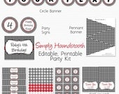 Houndstooth Party Supplies, Printable Birthday Party Package, Bridal Shower, Party Favors, Red Accent -- Editable, Instant Download