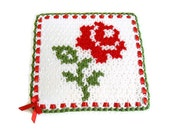 valentines day, Handmade  Crochet Dishcloths Washcloths,  mothers day,  Red, green and white,  unique, Rose