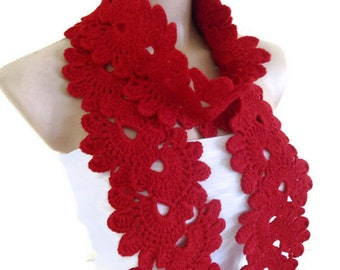 Red scarf, Lace Neckwarmer,fashion,autumn,Holiday Accessories,Christmas,Halloween,gift