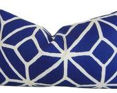 TRINA TURK Pillows - Blue Pillows - Trellis Marine - Blue Pillow Covers - Outdoor Throw Pillow - Outdoor Home Decor - Toss Pillows