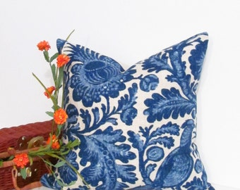SALE!!! Designer Accent Pillow  Tucker Resist Indigo Waverly Fabric Decorative Pillow Cover