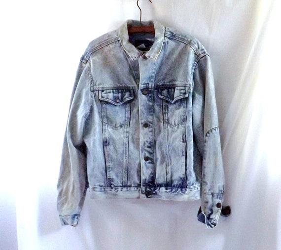 Denim Jacket  / vintage 80s Calvin Klein Denim Jean Stone Wash Jacket XL