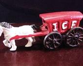 Vintage Old Cast Iron Toys Horse & Wagon