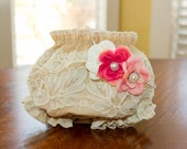 Vintage Tea Stained Diaper Cover with Ivory Lace Detail and Coordinating Headband