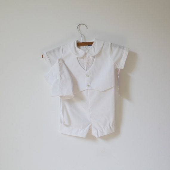 Vintage NEW OLD STOCK White Christening Shorts Outfit with Hat (24 months)
