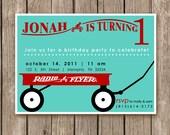 Radio Flyer Red Wagon Invitations - DIGITAL FILE (I design, you print DIY)  - birthday party for girl or boy