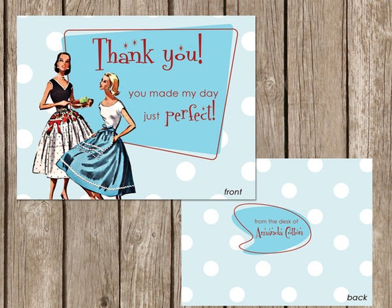 Bridal Shower - From the Desk of Thank you - Perfect Housewife  - 50s Retro Party Invite - DIGITAL FILE - I design, you print
