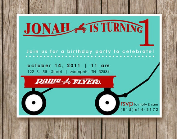 PRINTED Radio Flyer Red Wagon Invitations - birthday party for girl or boy - 2.00 USD per invite (min. order 20)