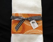 Custom Listing for Karla-Orange and Black Kitchen Towel Set of Two