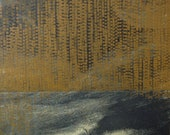 """Etching Print/ Home Decor in Navy Blue and Yellow Ochre: Terrain 55 ...8"""" x 8"""" Print Size"""