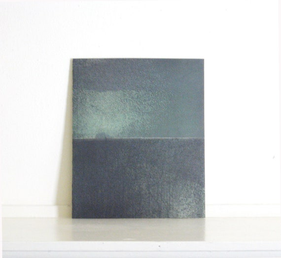Etching Art Print/ Minimalist Home Decor: Chiral 14 (in Mint Green and Charcoal Gray)