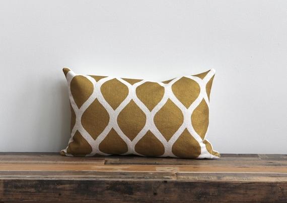 RESERVED CUSTOM: 2 Metallic bronze & copper on off-white hemp lumbar pillow covers 12x21