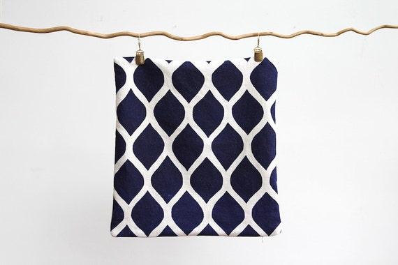 RESERVED: 2 Indigo & off-white handprinted organic hemp pillow covers 20x20
